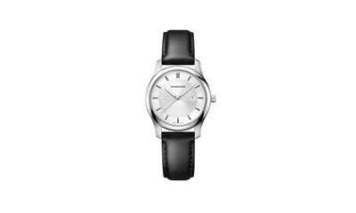 CITY CLASSIC Ø34 Silver dial, Black leather - W