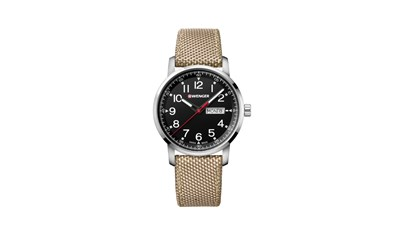 ATTITUDE Ø42, SST case, black dial, light brown nylon - W