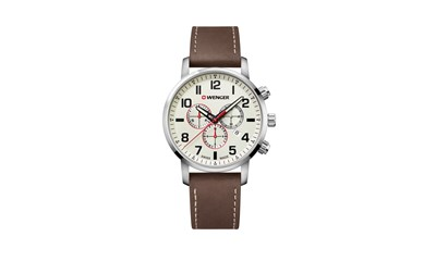 ATTITUDE CHRONO Ø44 Off-White dial, Brwn leather - Wenger