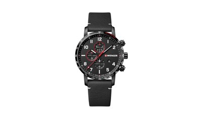 ATTITUDE CHRONO Ø44, black case, black dial, black leather - W