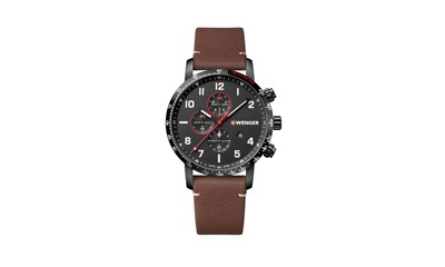 ATTITUDE CHRONO Ø44, black case, black dial, brown leather - W