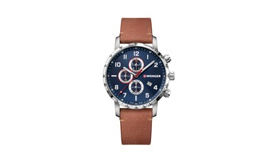 ATTITUDE CHRONO Ø44, sst case, blue dial, light brown leather - W