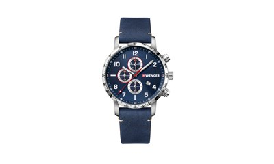 ATTITUDE CHRONO Ø44, sst case, blue dial, blue leather - W