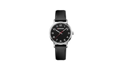 AVENUE Ø35 Black dial, Black silicone strap - Wenger
