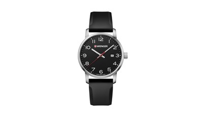 AVENUE Ø42 Black dial, Black silicone strap - Wenger
