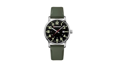AVENUE Ø42 Black dial, Green silicone strap - Wenger