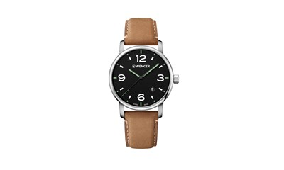 URBAN METROPOLITAN Ø42 Black dial, Light Brown leather - Wenger