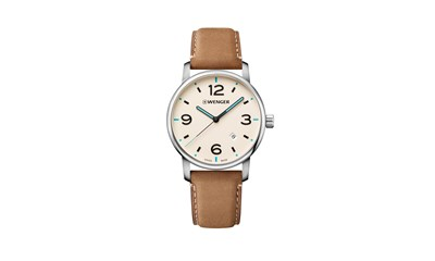 URBAN METROPOLITAN Ø42 Cream-Wht dial, Light brown leath - Wenger
