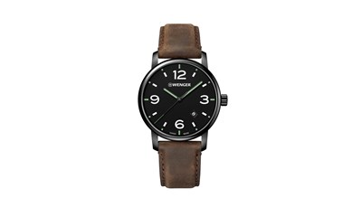 URBAN METROPOLITAN Ø42 Blk PVD,Blk dial,Brown leather - Wenger