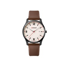 CITY ACTIVE Ø43, black case, cream dial, brown silicone - W
