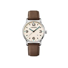 URBAN METROPOLITAN Ø42 Cream-White dial, Brown leather - Wenger
